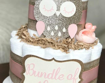 Pink Owl Diaper Cake, Baby Shower Decor, Baby Shower Centerpiece Gift, Floral Girl Pink Champagne Gold Burlap Woodland Rustic, 2 Tier