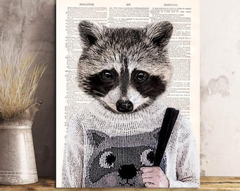 Sweet Raccoon Print , Raccoon Art Print, Raccoon wall art, vintage dictionary page book art print.