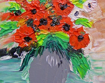 Tableau oil and flower vase - knife oil painting by Lodya - rating drouot