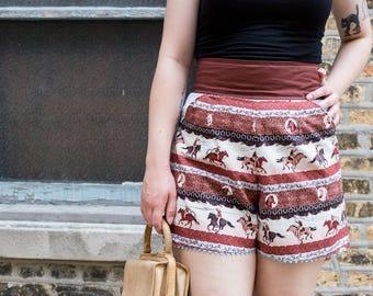 Western Rodeo Shorts, High Waisted Shorts, Cowboy Shorts, Cowgirl Shorts, Southwest Shorts, Rockabilly Shorts, Pinup Shorts, 1940s Shorts,