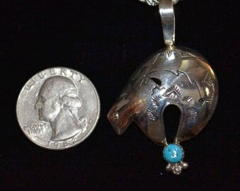 """Vintage Native American Navajo Handcrafted Sterling Silver Turquoise Fetish Bear 20"""" Necklace"""