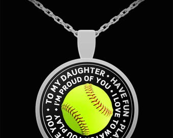 Softball Necklace, Softball necklaces, Gift for daughter, Softball Gifts, Daughter Gift, softball jewelry, Softball gift for girls, Daughter