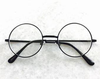 Classic Clear Lens John Lennon Circle Black Round Frame Spectacle Glasses