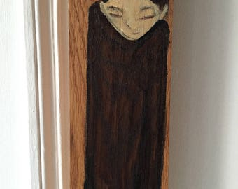 Small painting on wood, decorative gift - elongated character