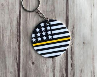 Thin Gold Line Keychain | 911 Dispatcher | Emergency Dispathcer | Dispatcher Gift