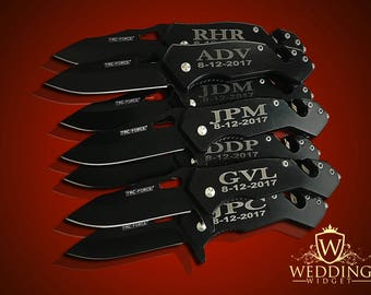 7 Personalized Knifes - 7 Groomsmen engraved gift - Usher & Officiant gift - Best Man engraved tactical knife - Wedding and Birthday gift