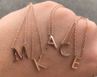 14kt Rose Gold Initial Necklace