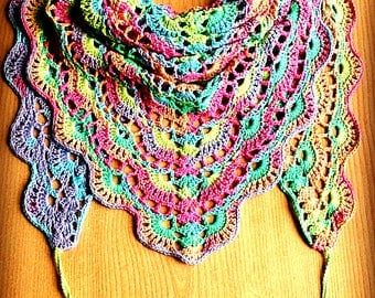 Rainbow crochet shawl Crochet cotton shawl Rainbow triangle scarf Colorful triangle shawl Triangle scarf Multicolor shawl Boho crochet shawl