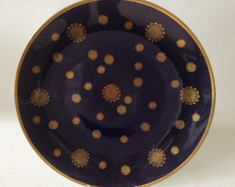 Cake plate, wall plate, cobalt blue with gold, vintage, light made in GDR