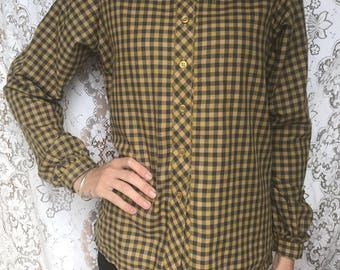 1990s Women's Western Shirt - Gold & Charcoal Plaid