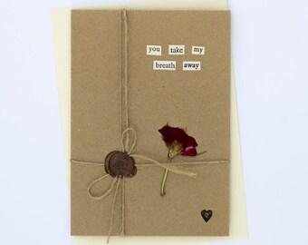 You Take My Breath Away Romantic Handmade Wax Seal Dried Flower Greetings Card