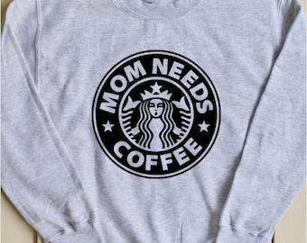 Mom Life Shirt, Starbucks Shirt, Mommin Aint Easy, Funny Mom Life Shirt, Coffee Shirt, Fleece Crewneck Sweatshirt, Gift for Her
