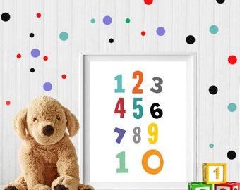 Numbers, nursery numbers, numbers poster, numbers printable, gender neutral nursery decor, colorful numbers print, digital download