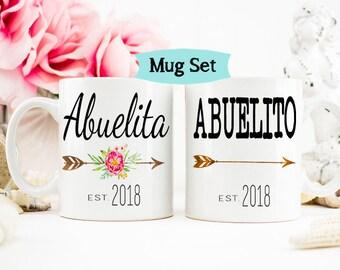 Abuelita, Abuelito mug set, Pregnancy Announcement to Abuelita, Abuelito Mug, Spanish Mug Set for New Grandparents, Abuelita Mug