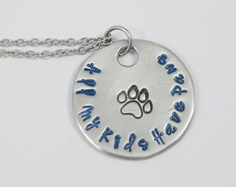 Dog Mom Jewelry, Dog Mom Necklace, Dog Mom Gift, All My Kids Have Paws, Paw Print Necklace, Dog Print Necklace, Paw Print Pendant, Dog Lover