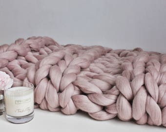 Giant Knit Blanket, Mink Knit Throw, Chunky Knit Throw, Blush Merino Blanket, Giant Knit Blanket, Pink Throw, Housewarming Gift, Wool Throw