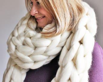 Chunky Knit Scarf, Giant knit Scarf, Oversize Knit Scarf, Merino Scarf, Arm Knit Scarf, Super Chunky Scarf, Bulky Scarf, Statement Scarf