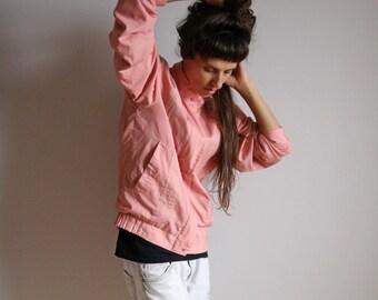 Pink vintage windbreaker/Retro fashion light jacket