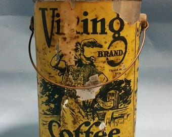 RARE Viking Coffee Tin with Paper Label, Chase and Sanborn Montreal