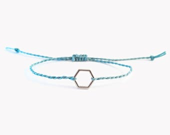 Geometric Bracelet, Silver Hexagon Charm Bracelet, Geometry Bracelet Hexagon Bangle, Friendship Bracelet Our First Christmas Gift Jewellery