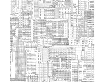 Benidorm, Valencia, Spain. Print | Poster of its architectonic landscape (ink drawing)