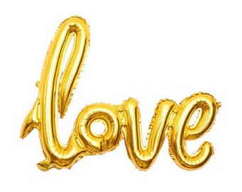 Gold Love Balloon for bachellette party, Bridal Shower, Engagement party, Wedding. Hanging gold foil mylar balloon