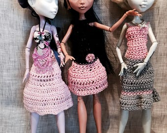 Monster Ever after High - variation 3 dresses pink gray black