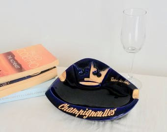 Champigneulles, Large Bar Ashtray, Collectible Ashtrays, Blue 'n Gold, Large Ashtray, Vintage Ashtray, Cocktail, Café Decor