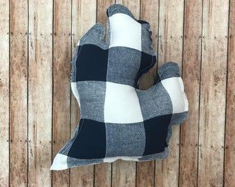 Blue Plaid Michigan Pillow