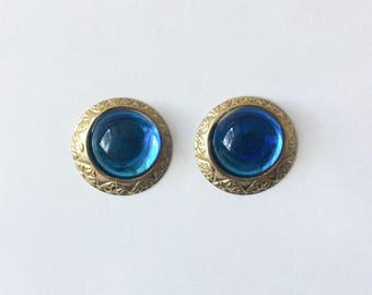 Vintage 1960's Blue Round Lucite Gold Detailed Retro Statement Studs Earrings