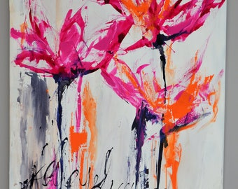 contemporary art, floral, orange, Red