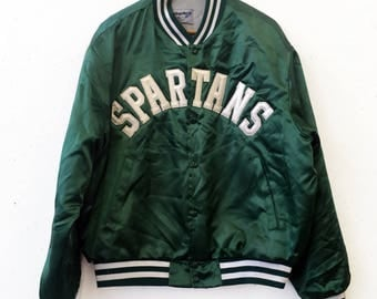 Vintage 80s Michigan State Spartans Satin Jacket