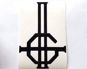 Ghost Double Grucifix vinyl sticker