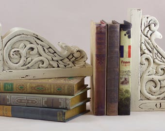 Bookends - Office Decor - Wooden Bookends - Carved Bookends - Book Storage - Decorative Bookends - Unique Bookends - Home Decor Bookends