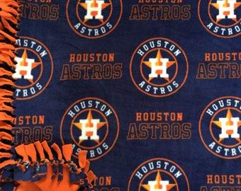 LARGE HOUSTON Astros Handmade Fleece Tie Mlb Blanket  | 55x65 | Astros Home Decor | Astros Bedding