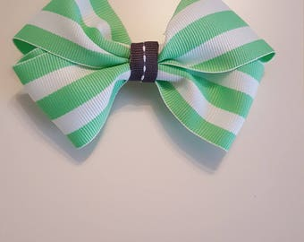 Classic Hair Bow - Pinwheel Bow - Classic Bow - Alligator Clip - Girl Bow - Baby Bow - Toddler Bow - Mint/White Striped - Hair Bow