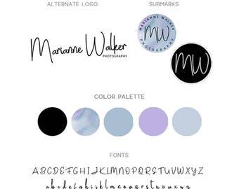 Modern Branding Package, Blue Watercolor Triangle Logo Design, Photographer Branding Kit, Business Branding Package, Photographer Logo