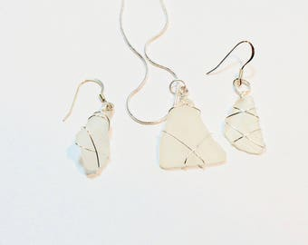 White Authentic Lake Michigan Beach Glass - Wire Wrapped silver artistic wire - For Her - Cute Necklace and Earring Set