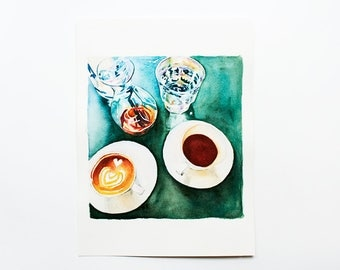 Coffee watercolor painting Kitchen wall art Teal painting Coffee artwork ORIGINAL watercolor Kitchen art Coffee cup art Small painting