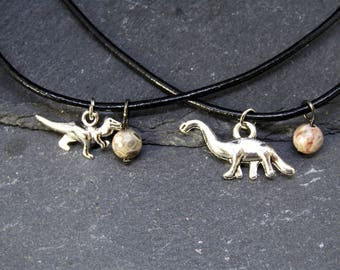 Dinausors and Egg Necklace with Genuine Crinoid Fossil Bead, Dinosaur Necklace, Diplodocus Necklace, T-Rex Necklace, Dinosaur Jewellery