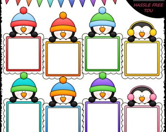 Message Board Penguins Clip Art and B&W Set