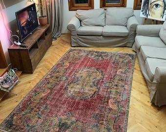 "5""4x8""9ft.Low Pile Turkish Oushak Rug,Hand Knotted Vintage Rug,Electic Saloon Room Size rug,Floral Area Rug,Vintage Turkish Anatolian  Rug."