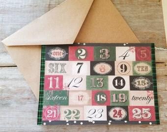Advent Cards - Advent Christmas Calendar - Plaid Christmas Card - Rustic Christmas Cards - Christmas Countdown Cards - Christmas Advent