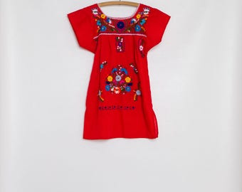 vintage 70s girl's Oaxacan dress | embroidered floral