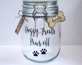 Dog Treat Jar, Personalised Dog Treat Jar, Glass Jar, Personalized Jar, Dog Gift