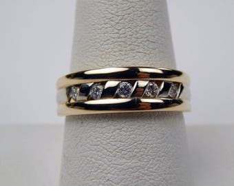 14k yellow white gold diamond band ring #569