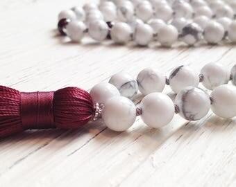 Garnet Mala Necklace • Knotted Mala Beads • Howlite Mala Necklace • Yoga Necklace for Women • Tassel Mala • Buddhist Prayer Beads Gift