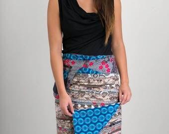 Reversible Cotton Skirt Grey Patch Blue Print Detachable Pocket Long Length