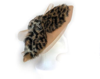 Jezebel, Felt-Wool Hat by Swan Hat Co. Inc., Camel with leopard print fur, faux diamond and tulle accents, vintage