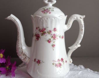 French antique coffee pot. Porcelain coffee pot. French china coffee pot. Pink roses pattern. Sprayed gold. Victorian coffee pot